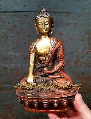 Collectables! Wonderful Old Tibet Tibetan antique Bronze Buddha Old Statue 20cm