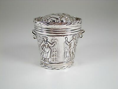 Antique Dutch Repousse Silver Flowers & Characters Snuff / Peppermint Box