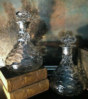 Hukin and Heath Sterling Collar Decanters 1902