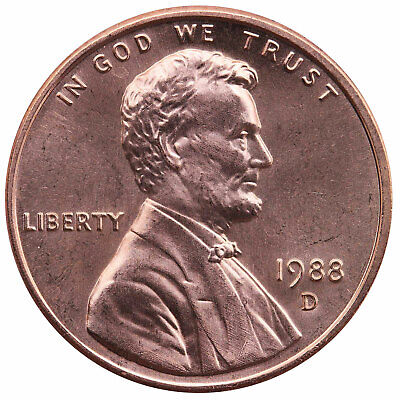 1988 D Lincoln Memorial Cent Choice BU Penny US Coin