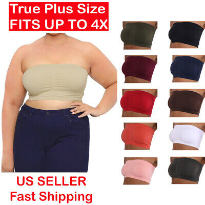 Plus Size Strapless Padded Bandeau Bra Tube Top Layering Queen Tee 2X 3X 4X