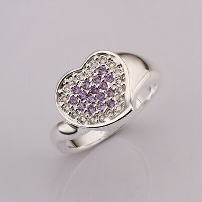 Fashion 925Sterling Solid Silver Jewelry Purple Crystal Heart Rings R349