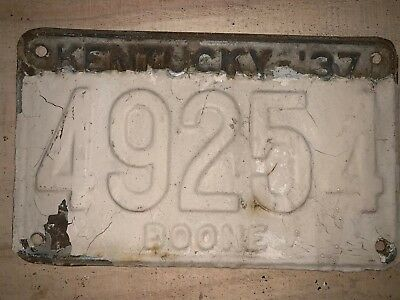 1937 Boone County Kentucky License Plate