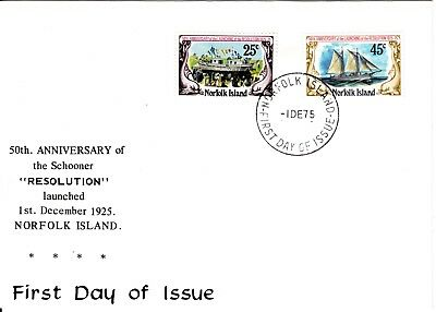 1975 - Norfolk Island - 50th Annivesary of  the Schooner Resolution - FDC