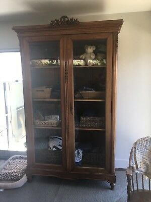 """Vintage Style Brown Wood & Clear Glass Armoire Furniture 88"""" HiGH X 49"""" Wide"""