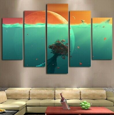 5Pc Space Ocean Planet Under the Sea Water Canvas Modern Wall Art Home Decor