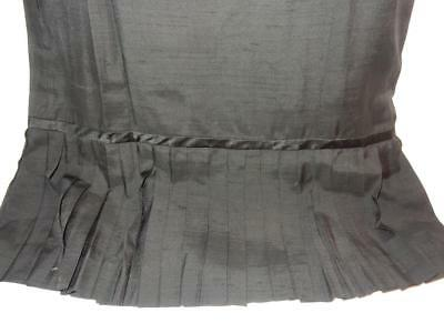 ANTIQUE VINTAGE LADIES 1930s 1940s BLACK EARLY DRESS PLEATED RAW SILK LINED