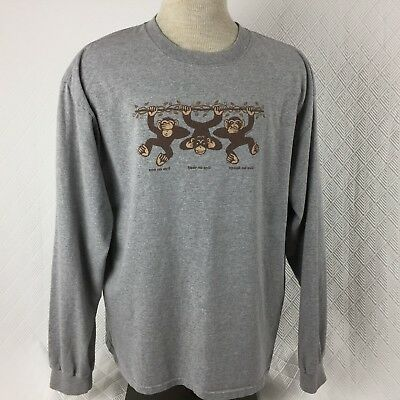 Anvil Mens T-Shirt Monkeys See No Hear No Speak No Evil Gray LS Size XL