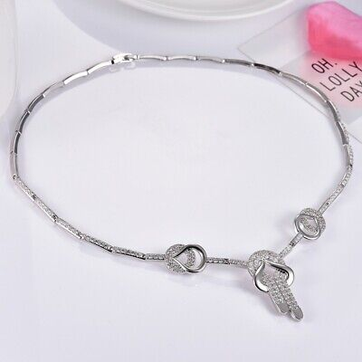 Unique Women Radiant Clear White Sapphire Crystal Silver Choker Necklace Jewelry