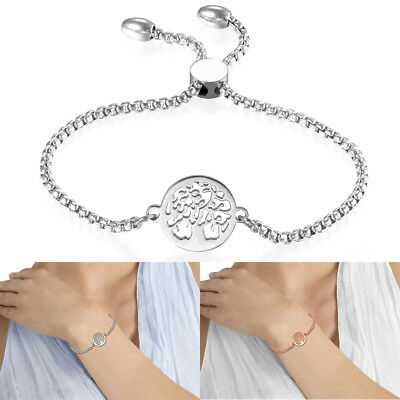 Womens Stainless Steel Freely Adjustable Charm Hollow Tree Bracelet Chain Beauty