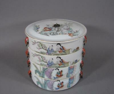 Nice Signed Antique Chinese Famille Rose Stacking Food Dishes, Multi Section