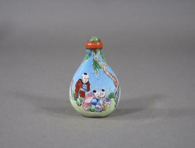Nice Antique Chinese Enamel Boys Pear Form Snuff Bottle, Canton, 19THC