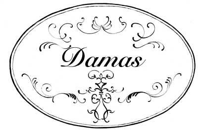 White and Black Damas Oval Bath Plaque [ID 94737]