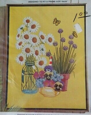 "Paragon Needlecraft Crewel Kit Summer's Bloom #0517 18x24"" NIP Stamped Daisies"