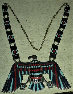 c1930 EGYPTIAN REVIVAL SILVER TONE METAL FALCON BLUE RED ENAMELED NECKLACE  vafo