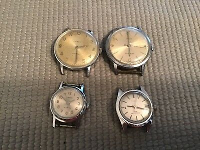 Lot of 4 Vintage Timex Handwind 1- Selfwind  Watch Case & Movemnets  ( P or R )