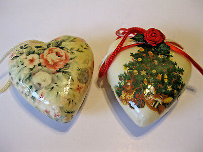 2 Victorian Style Decoupage Paper Heart Hanging Christmas Ornaments Tree Floral