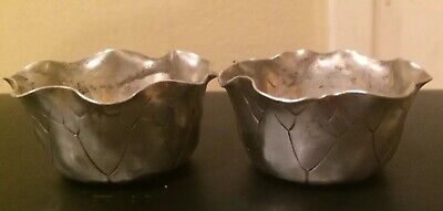 Antique Pair Of Aesthetic Shiebler Sterling Silver Cabbage Leaf Form Open Salts