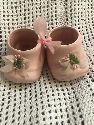 retro baby vintage nursery china bootees pink bow flower Keepsake Ornament Shoes