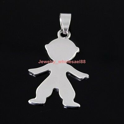 Lot 10pcs 25*39mm Cute boy charms pendant stainless steel Silver Fashion DIY