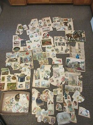 HUGE LOT Victorian Era Scrapbook Cuts Crafts Trade Calling Advertising Cards Old