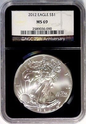 2012 NGC MS69 Silver Eagle Black Retro Black Core 25th Ann lite spots MS 69