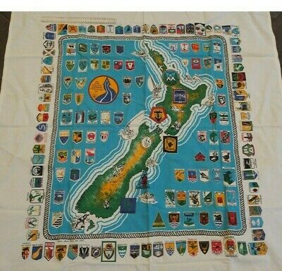 Scouts NZ - tablecloth showing all district badges and Scouts NZ Flag