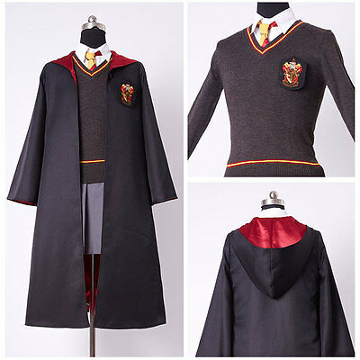 Harry Potter Hermione Granger Cosplay Costume Kid Child Gryffindor Uniform Dress