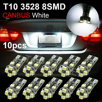 10PCS Xenon White T10 8 SMD Canbus Error Free Mercedes LED Parking Eyelid Lights