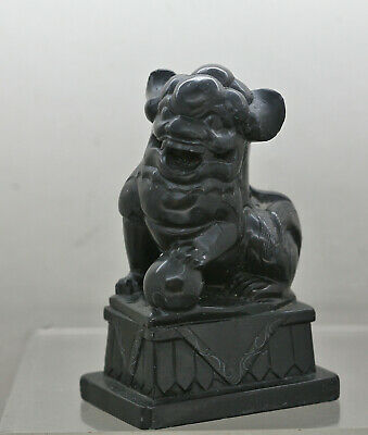 Fantastic Antique Chinese Semi Precious Stone Black Obsidian Fu Dog Circa 1800s