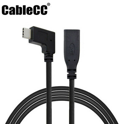 Cablecc Right Angled 90 Degree USB-C USB 3.1 Type C Male Female Extension Cable