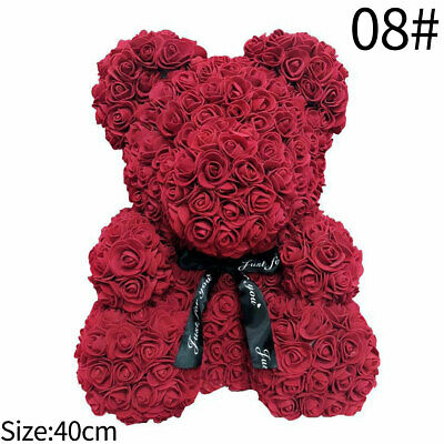 15in Red Rose Bear FLOWERS Lovely CUTE For Birthday Wedding Valenting's Day GIFT