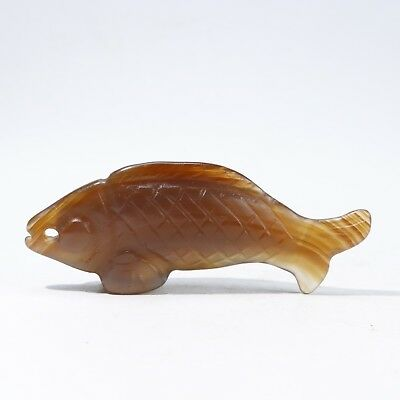 Chinese agate carved agate fish statue B2807