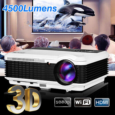 Smart Android Projector Home Cinema Theatre LED HD WiFi Movie bluetooth 1080p HD