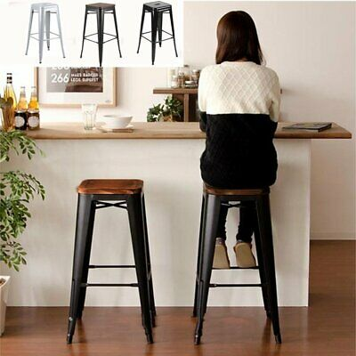 4PC Bar Stool Metal Wooden Industrial Rustic Vintage Style Seating for Kitchen