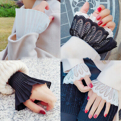 Ladies Lace Cuffs Clothing Universal Ruched Fake Sleeve False Wrist Accessory 8C