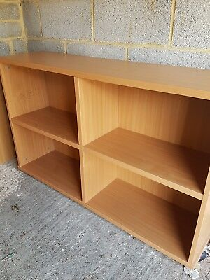 Beech Effect Office Bookcase, low office open front storage shelves