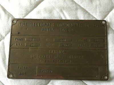 nice old vintage brass metal name plate telegraph condenser co acton london