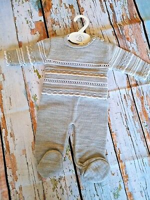 Baby Boys Dandelion Grey & White Knitted Suit Free Postage £16.99
