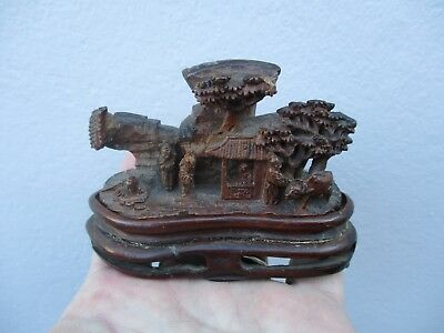An Antique Chinese Hand Carved Wooden/Bamboo Garden Scene & Stand 19th C