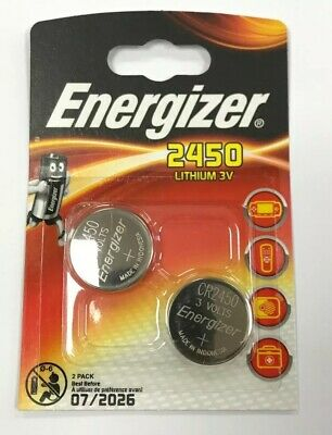 2 x Energizer CR2450 3V Lithium Coin Cell Battery 2450 DL2450 Free Postage