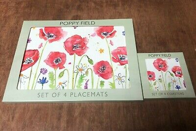 Set Of 4 Red Poppy Field Placemats & Coasters Table Setting Cork Backed