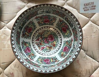 "15"" Hand-Painted Oriental Chinese Rose Famille Porcelain Bowl With Mark"