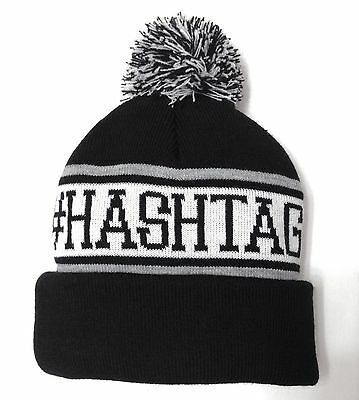 9fde4faedd5 new  HASHTAG POM BEANIE Black Twitter Instagram Winter Knit Cap Hat  Men Women