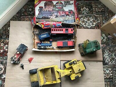 Job Lot Of Toys Includes Tonka Vintage Yellow Metal. 2 X Trains And A Crane.