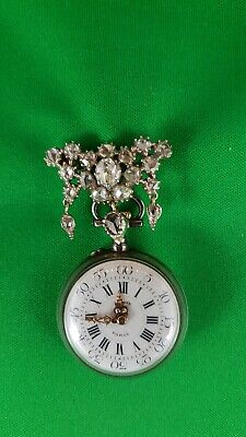 Le Roy Paris Diamond and ruby  pin pocket watch for lady's