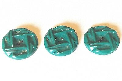 """3 Vintage Forest Green plastic carved pattern buttons 1"""" Good condition Textured"""