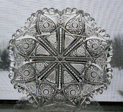 Crystal Dish, Deep Cut, Hobstar, Sawtooth, American Brilliant Antique Pairpoint
