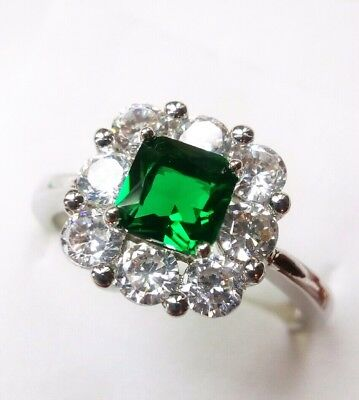 AD177 Sterling Silver Art Deco Vintage square Emerald White Sapphire Ring N
