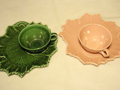 Woodfield Steubenville Pottery Ceramic Leaf Cup & Snack Plate Set: Pink & Green